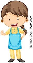 Woman wearing blue apron