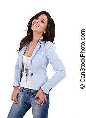 woman wearing blue jacket