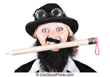 Woman Wearing Bowler Hat Holding A Pencil In Mouth