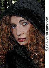 Woman wearing cloak