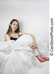 Woman wearing crinoline and shoes - Beautiful young woman ...