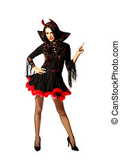 Woman wearing devil clothes pointing up