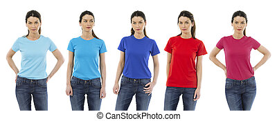 Woman wearing different colored blank shirts