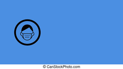 Woman wearing face mask icon against blue background - ...