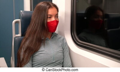 Woman wearing face mask in public transportation during coronavirus Covid-19 pandemic. Face mask concept with train transport commuter. Multiracial woman passenger using face mask on commute