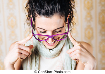 Woman wearing fashion glasses