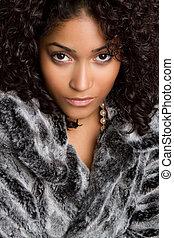 Woman Wearing Fur - Beautiful black woman wearing fur