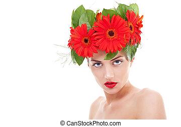 woman wearing gerbera flowers