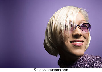 Woman wearing glasses.