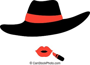 Woman wearing Hat and Lipstick - Vector Illustration of...