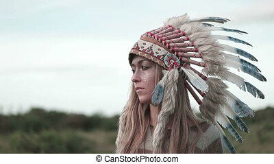 Woman Wearing Headdress