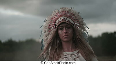 Woman Wearing Headdress - Video of an attractive young woman...