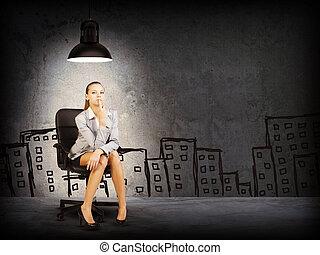 Woman wearing jacket, blouse . Background sketch of buildings