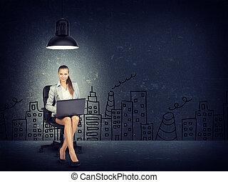 Woman wearing jacket, blouse sitting with legs crossed. Background sketch of buildings, chimneys