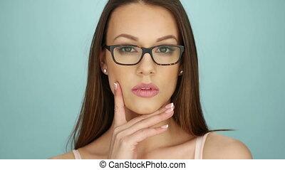 Woman Wearing Large Glasses