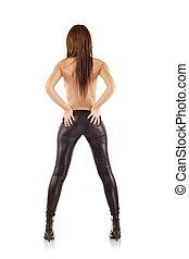 woman wearing leather pants