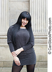 woman wearing mini dress - woman wearing minidress posing...