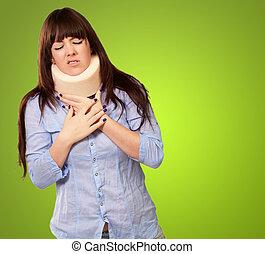 Woman Wearing Neckbrace