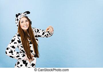 Woman wearing pajamas cartoon pointing
