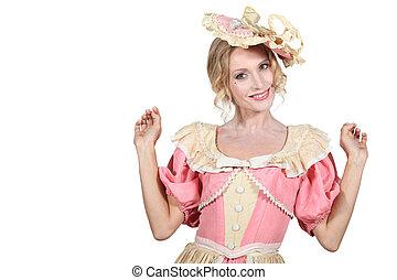 Woman wearing period costume