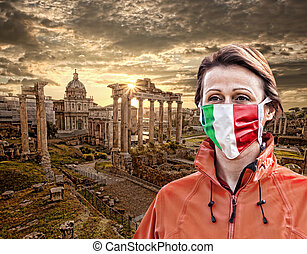 Woman wearing protection face mask with Italian flag against...