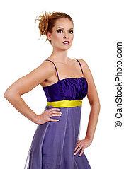 woman wearing purple dress