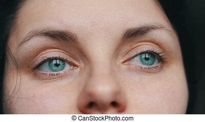 Woman wearing reading glasses - Beautiful green-eyed girl...