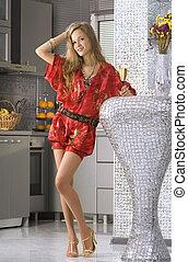 woman wearing red dress