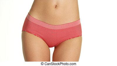Woman wearing red striped underwear