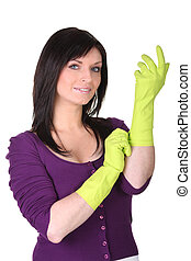 Woman wearing rubber gloves