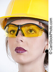 Woman Wearing Safety Glasses