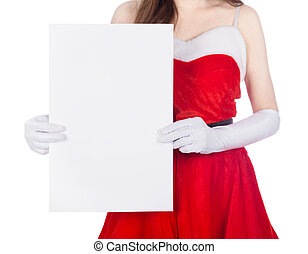 woman wearing santa claus clothes with blank sign on white background
