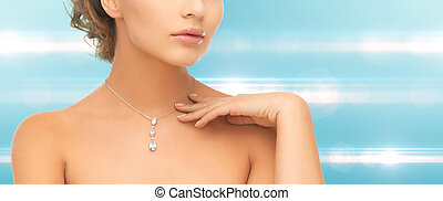 woman wearing shiny diamond pendant - wedding, bridal,...