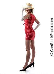 Woman wearing short red dress