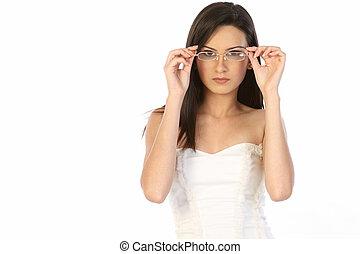 woman wearing specs