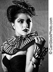 Woman Wearing Striped Fashion With Dramatic Lighting -...