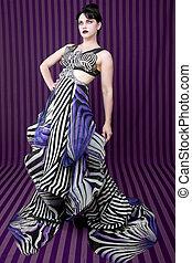 Woman Wearing Striped Fashion With Dramatic Lighting