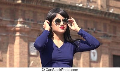 Woman Wearing Sunglasses And Wig