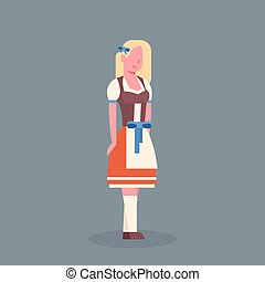 Woman Wearing Traditional German Clothes Oktoberfest Waitress Beer Fest Concept