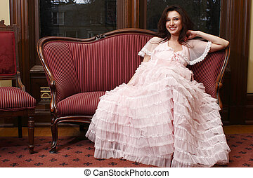 Woman wearing vintage dress
