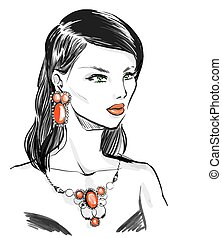 woman wearing vintage jewelry  set with  natural stones