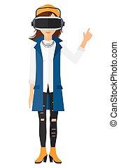 Woman wearing virtual reality headset. - A woman wearing a...