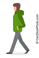 Woman Wearing Warm Clothes Jacket Walking Vector