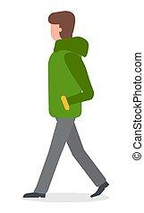 Woman Wearing Warm Clothes Jacket Walking Vector