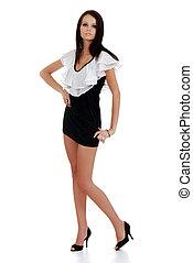 woman wearing white black dress