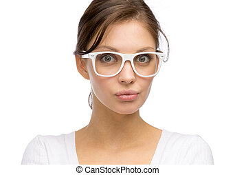 Woman wearing white frame glasses