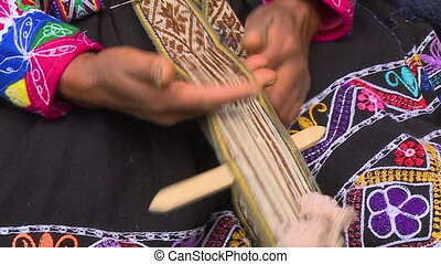 Woman Weaving Fabric On A Hand Loom, Sacred Valley - Extreme...