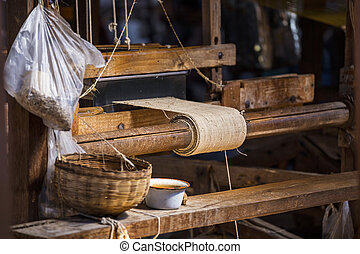 Traditional weaving loom for carpets in Myanmar (Burma)