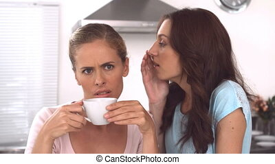 Woman whispering gossips to a frien