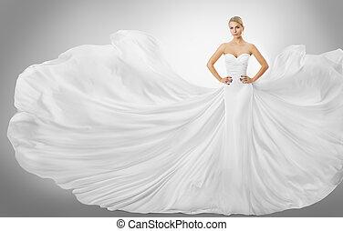 Woman White Flying Dress, Elegant Fashion Model Posing in Wedding Fluttering Gown, Bride Art Beauty Portrait